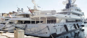 Many huge luxury yachts in Rijeka, Croatia