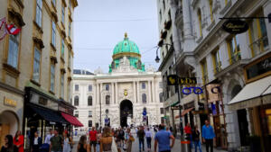 Vienna street scene and entrance to Hofburg Palace