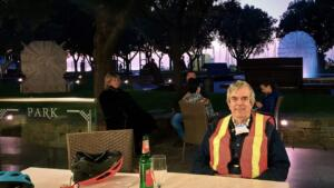 Pizza during sunset on our first night in Koper 2020