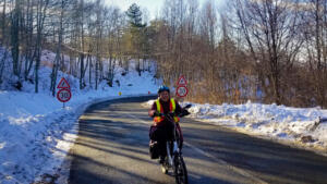 Cycling over the steep mountains, in winter, in Učka NP