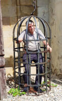 Mike in trouble at Ostrava Castle, CZ.  Built near the Polish border.