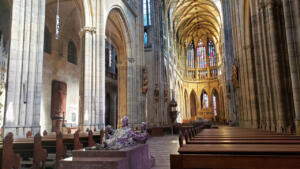 St. Vitus Cathedral and silver tomb in Prague Castle complex, Czechia