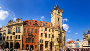 Old town hall with astronomical clock in Prague, CZ