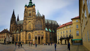 Beautiful St Vitus Cathedral in the Prague Castle complex