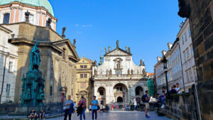 St. Salvator church at one end of Charles Bridge at entrance to Old Town, Prague, CZ