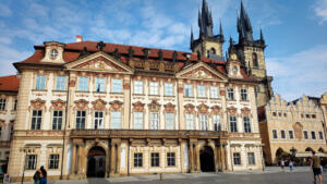The Kinský Palace, a Rococo building on Old Town Square in Prague, CZ